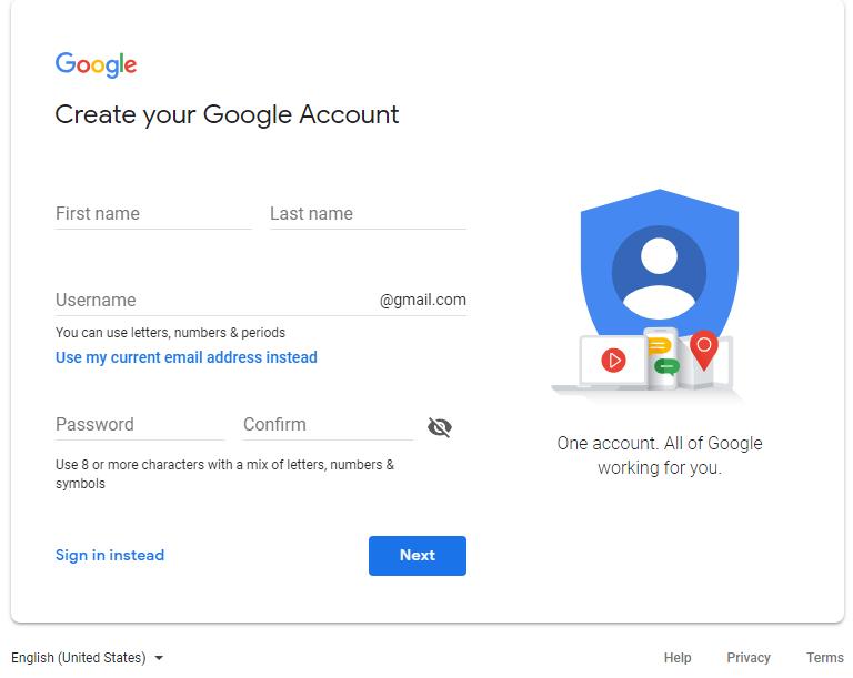 Cách đăng ký tài khoản Google
